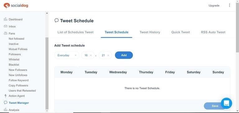 SocialDog Tweet Schedule
