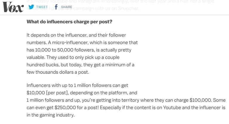 Influencer Earnings